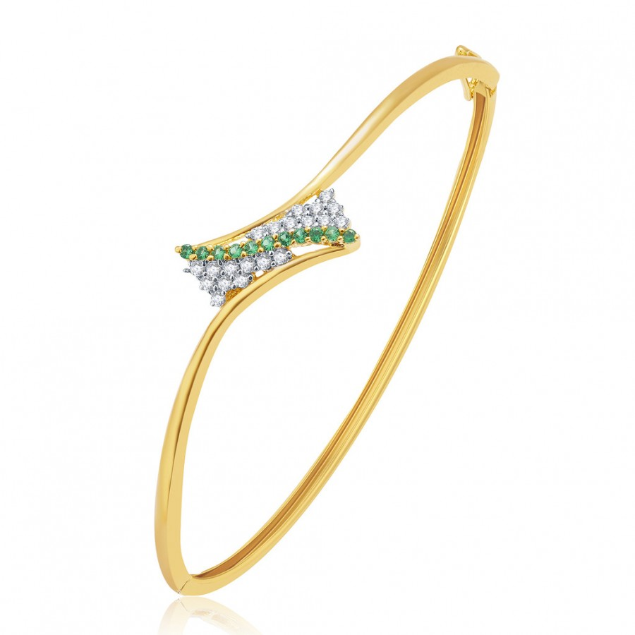Buy Pissara Majestic Gold And Rhodium Plated CZ Kada For Women Online