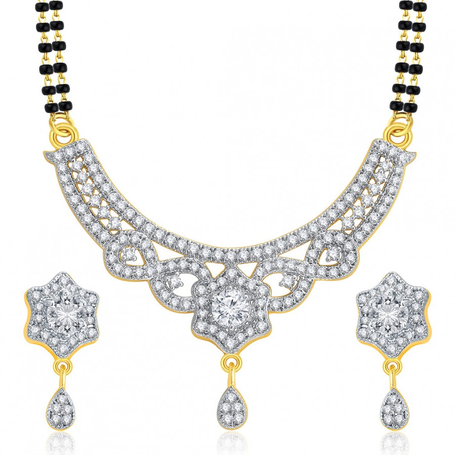 Buy Pissara Dangly Gold And Rhodium Plated CZ Mangalasutra Set For Women Online