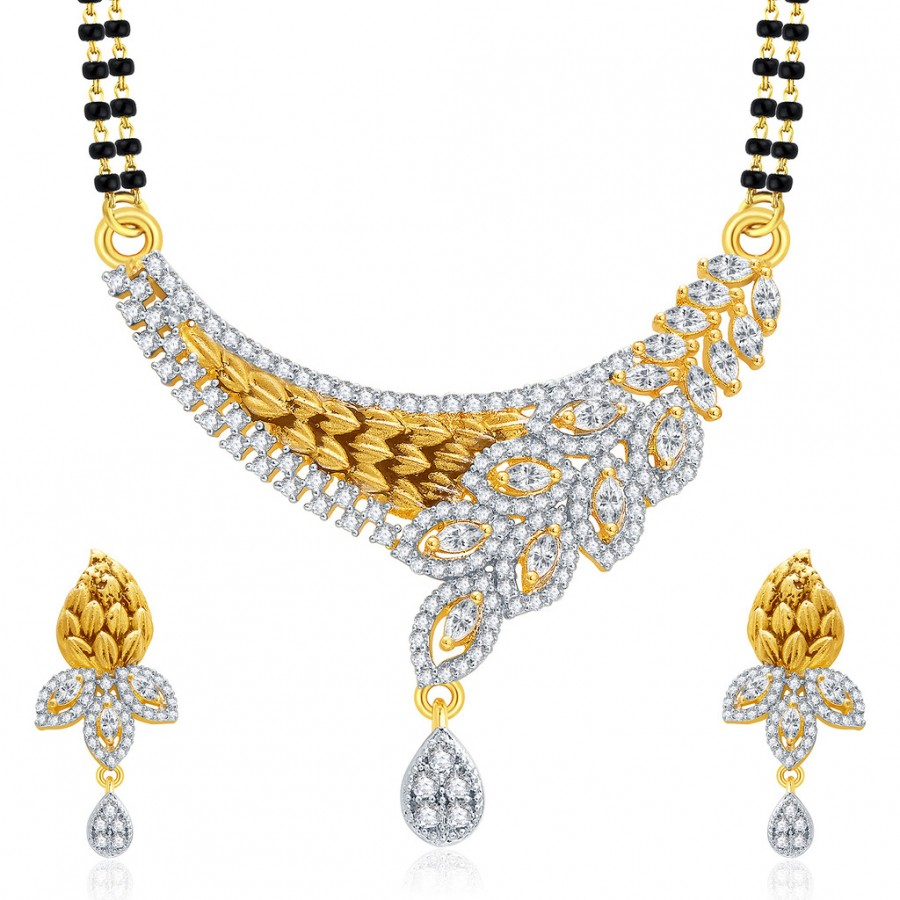 86ca7b8b92 Buy Pissara Dangly Gold And Rhodium Plated CZ Mangalasutra Set For Women  Online