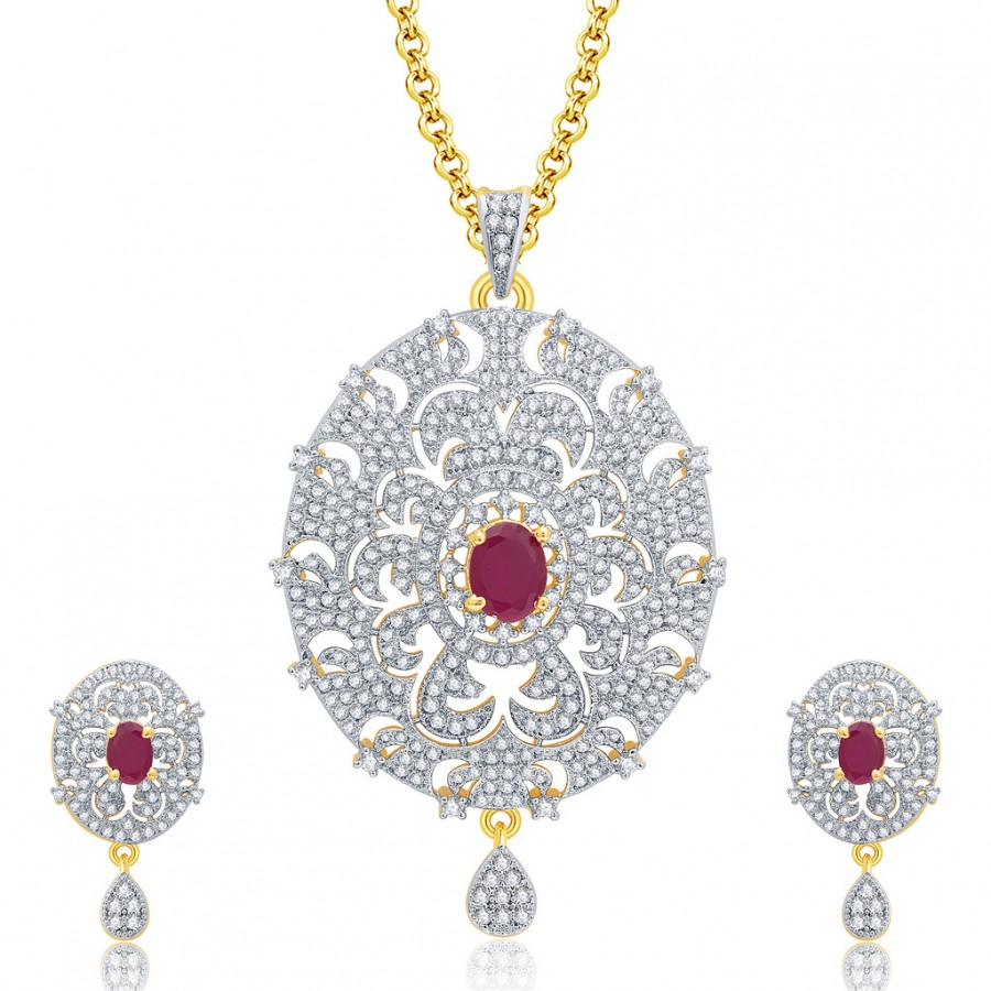 Buy Pissara Posh Gold And Rhodium Plated Ruby CZ Pendant Set For Women Online