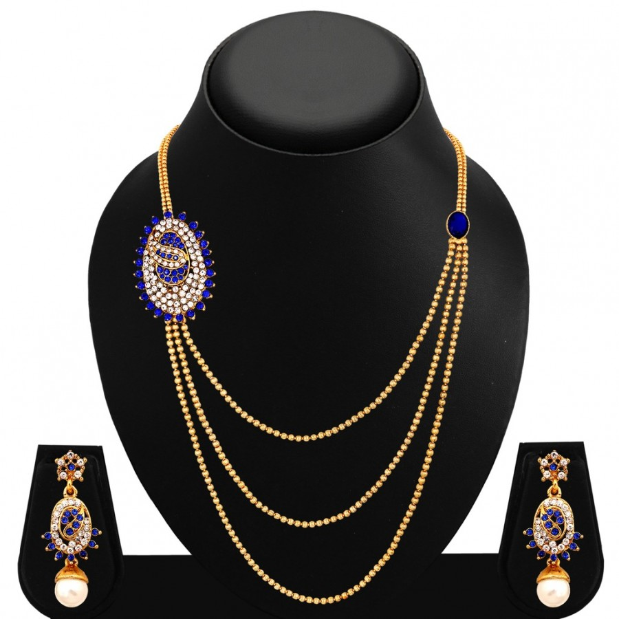 Buy Sukkhi Cluster Three Strings Gold Plated AD Necklace Set For Women Online