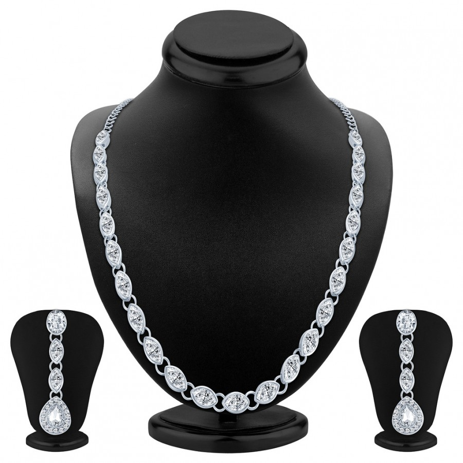 Buy Sukkhi Fashionable Single String Rhodium Plated AD Necklace Set Online