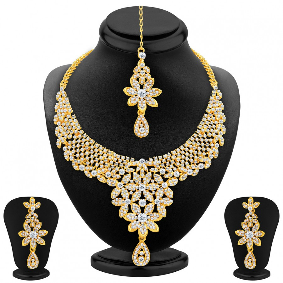 Buy Sukkhi Fascinating Gold Plated AD Necklace Set For Women Online