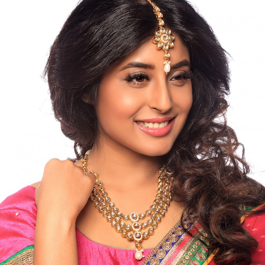 Buy Sukkhi - Kritika Kamra Pretty Gold Plated Kundan Three Strings Wedding Necklace Set Online