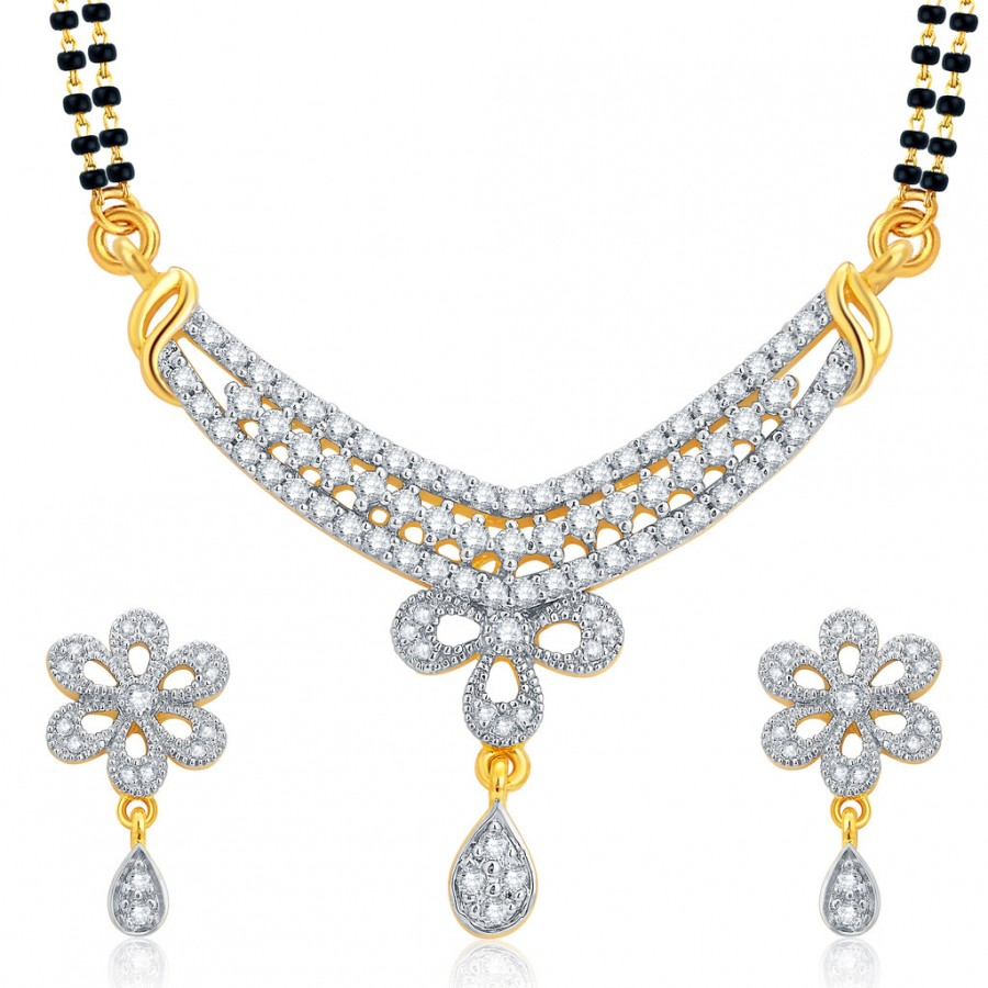 Buy Pissara Enchanting Gold and Rhodium Plated CZ Mangalsutra Set For Women Online