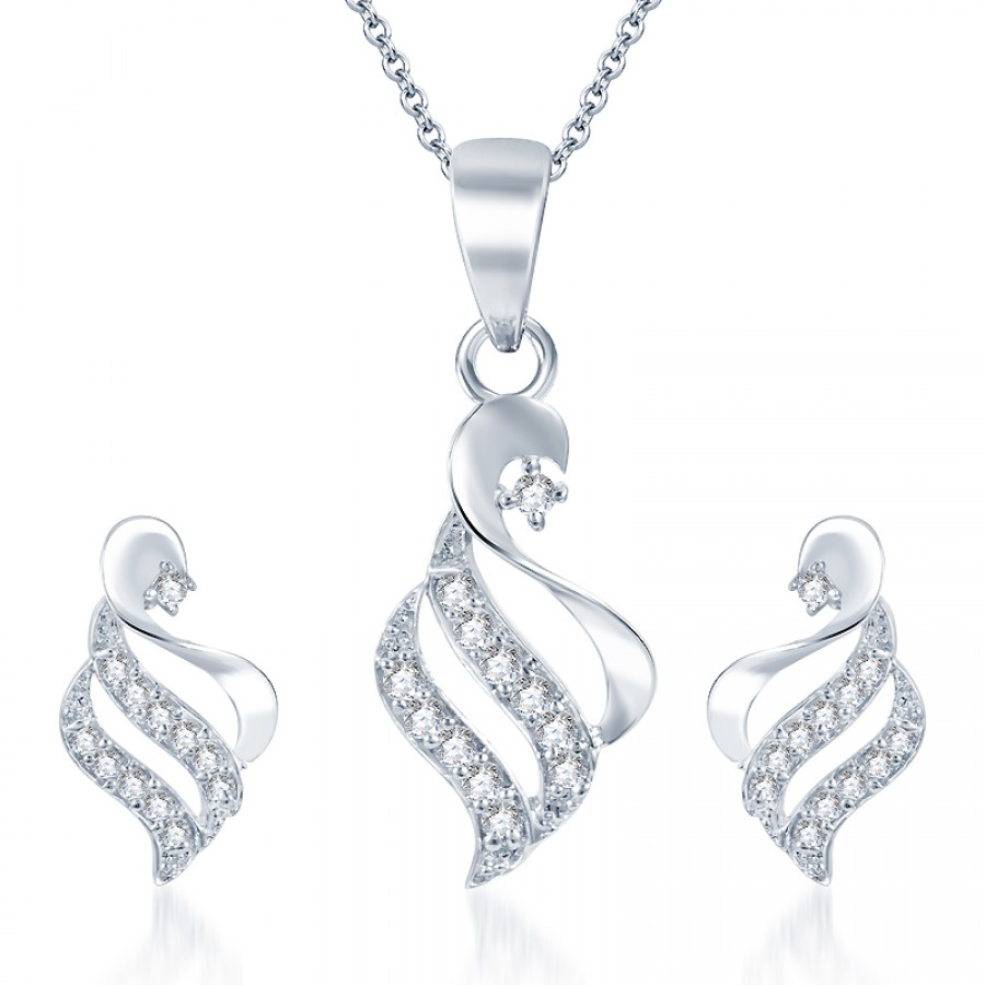 Buy Pissara Bewitching Rodium plated CZ Pendant Set Online