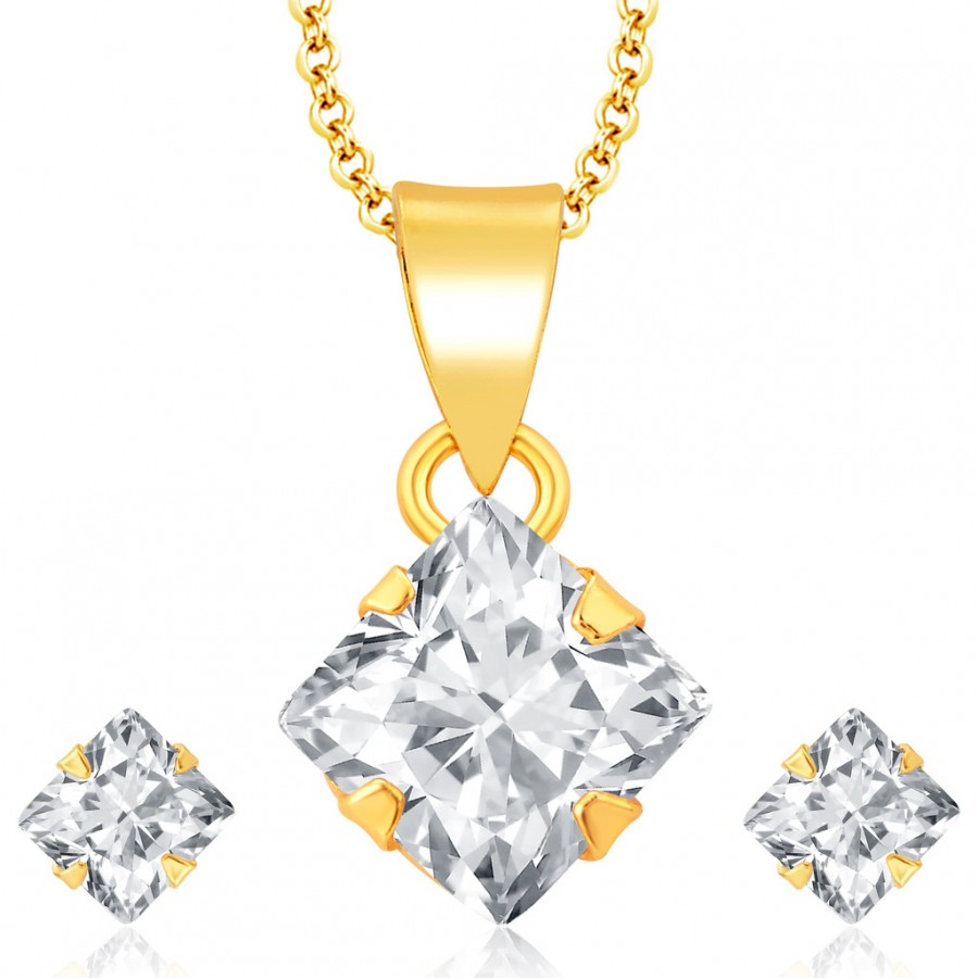 Buy Pissara Sublime Gold Plated CZ Pendant Set For Women Online