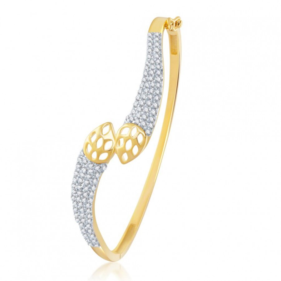 Buy Pissara Fine Gold and Rhodium Plated Cubic Zirconia Stone Studded Kada Online