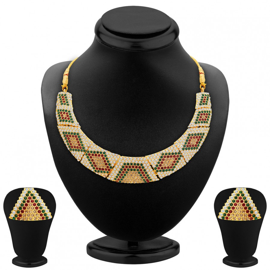 Buy Sukkhi Finely Gold Plated AD Necklace Set For Women Online