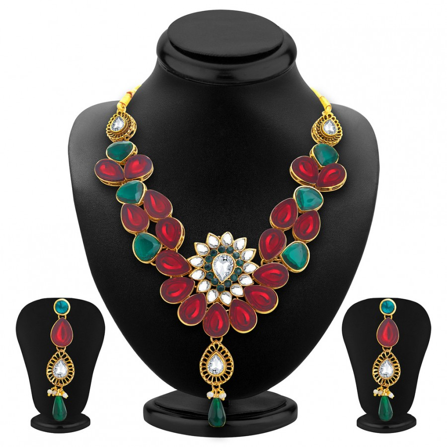 Buy Sukkhi Appealing Gold Plated Kundan Necklace Set For Women Online