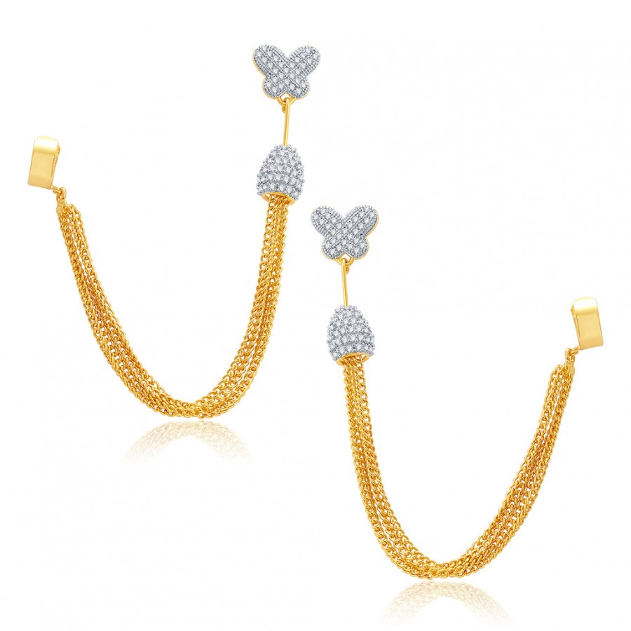 Buy Pissara Dangling Gold And Rhodium Plated CZ EarCuff For Women Online