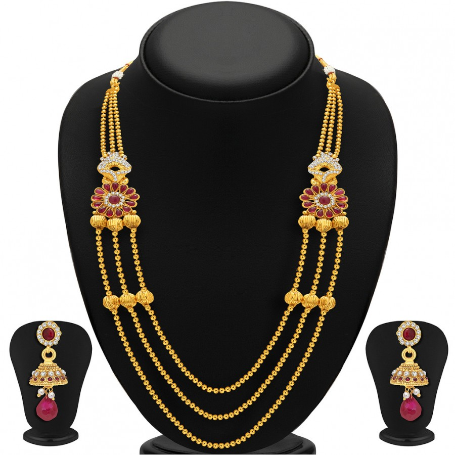 Buy Sukkhi Exquisite Three Strings Gold Plated AD Necklace Set For Women Online