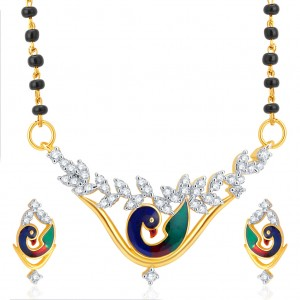 Buy Pissara Astonish Pecock Gold Plated CZ Mangalsutra Set For Women Online