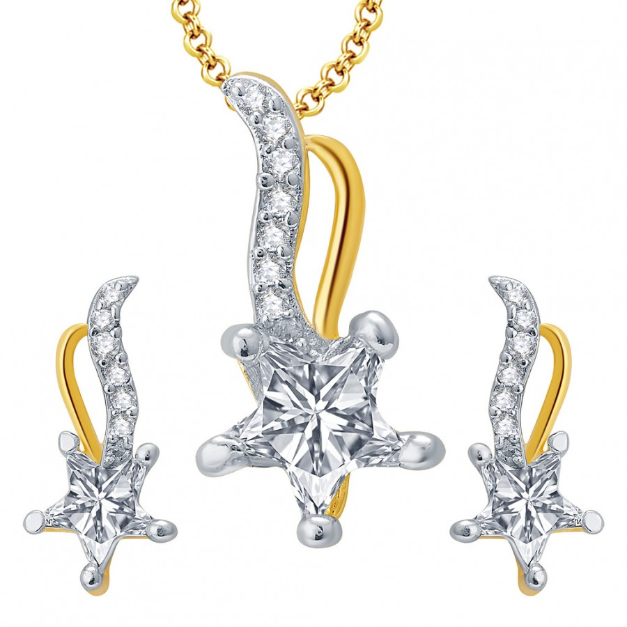 Buy Pissara Sublime Gold And Rhodium Plated CZ Pendant Set For Women Online