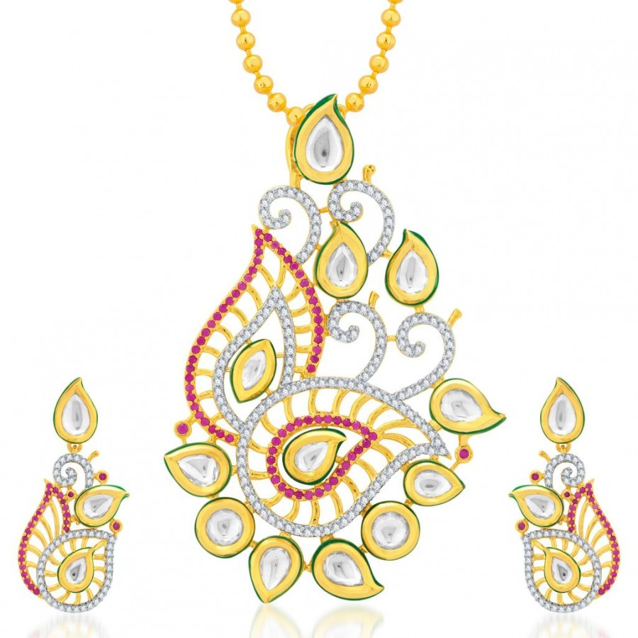 Buy Pissara Marquise Gold Plated Kundan and CZ Fusion Jewellery Pendant Set Online