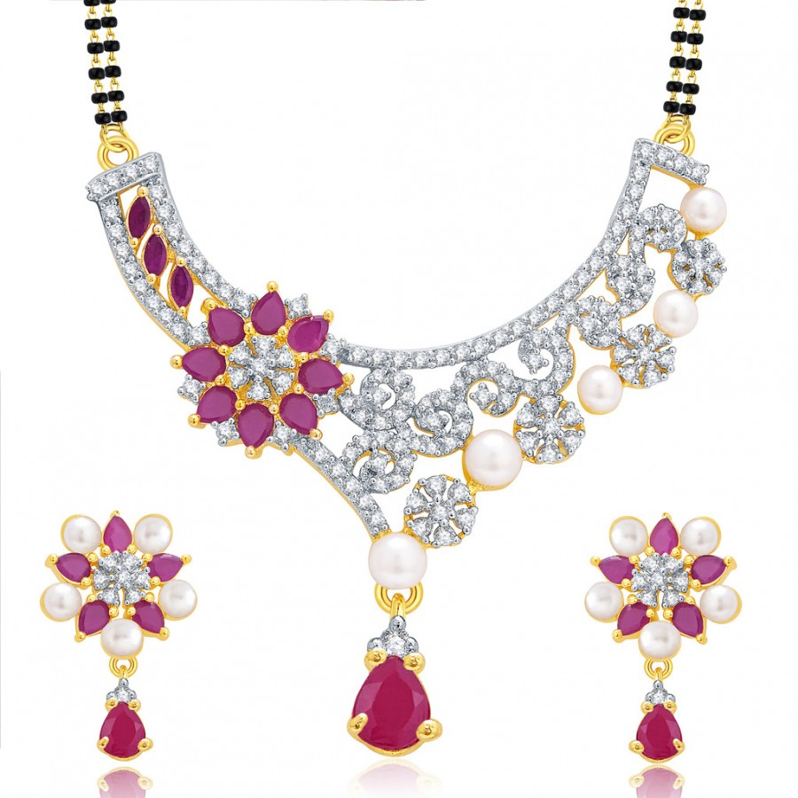 Buy Pissara Winsome Gold And Rhodium Plated Ruby CZ Mangalasutra Set For Women Online