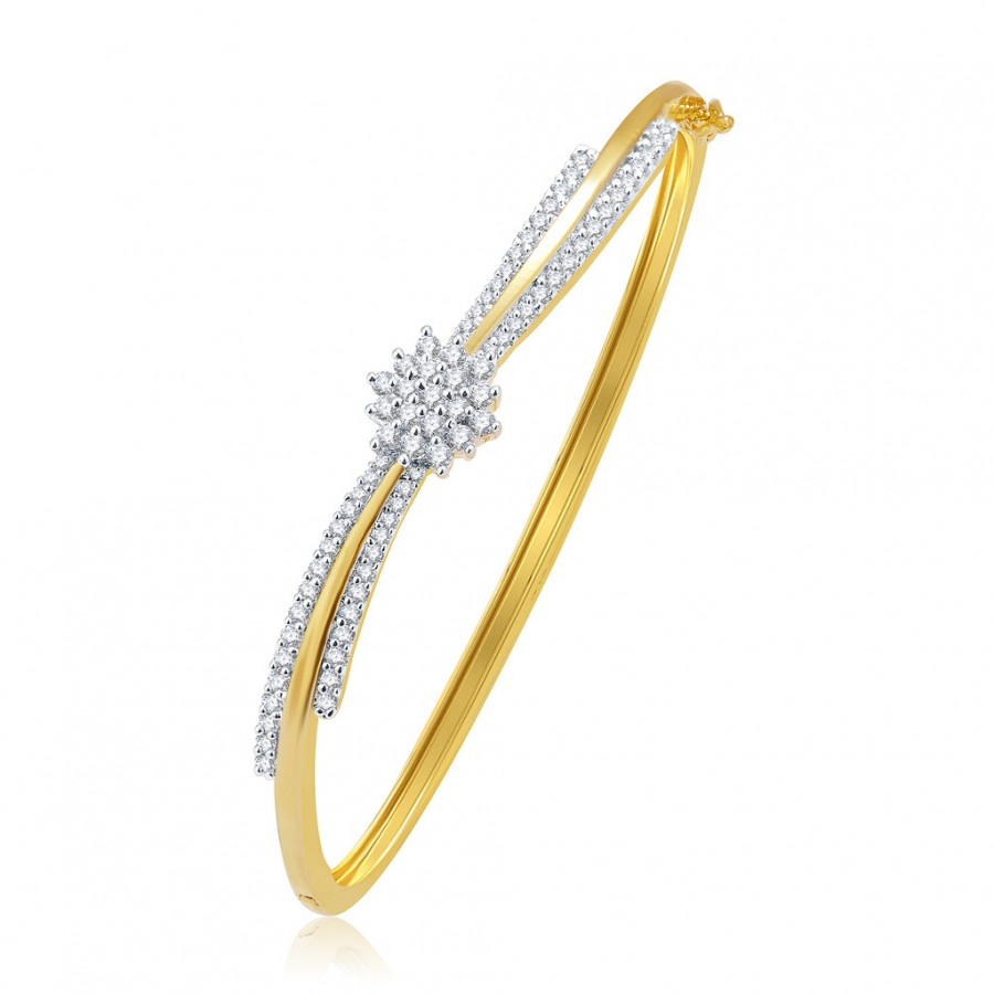 Buy Pissara Sparkiling Gold And Rhodium Plated CZ Kada For Women Online