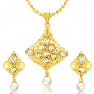 Buy Sukkhi Lavish Gold Plated Kundan Pendant Set Online