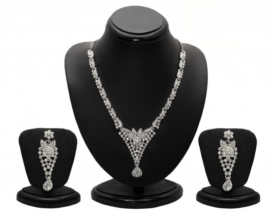 Buy Sukkhi Appealing Rhodium plated AD Stone Necklace Set Online