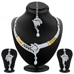 Buy Sukkhi Alluring Gold and Rhodium Plated AD Necklace Set Online