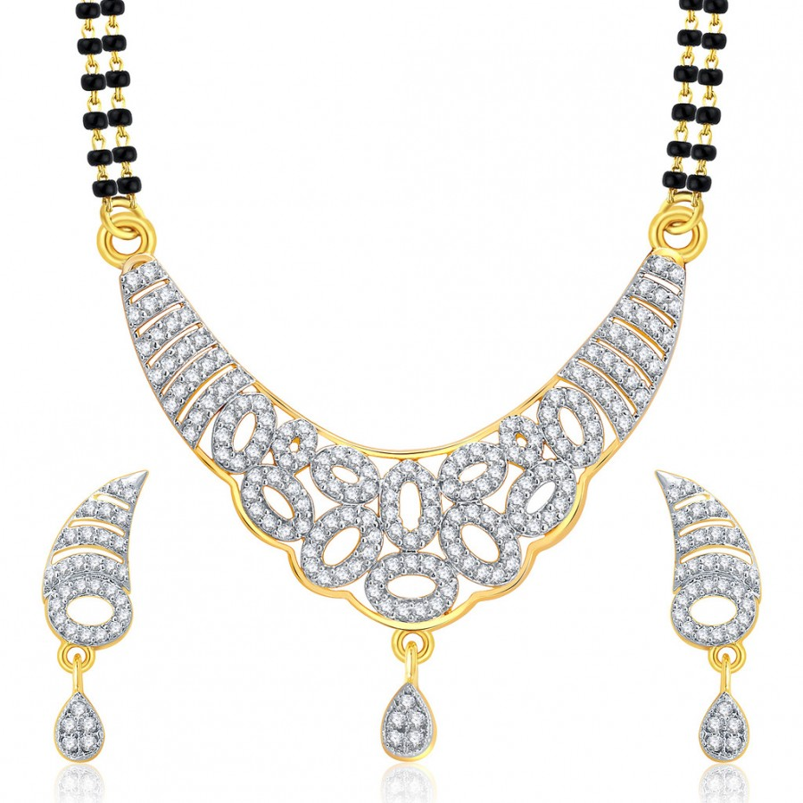 Buy Pissara Exotic Gold And Rhodium Plated CZ Mangalasutra Set For Women Online