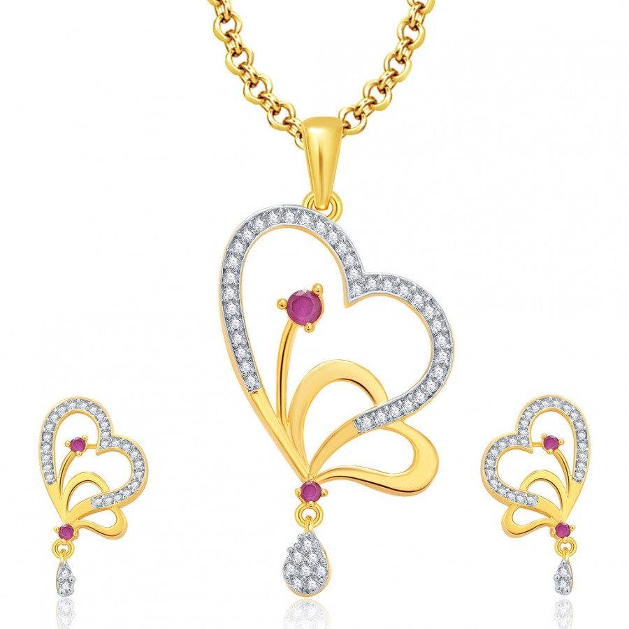 Buy Pissara Enchanting Gold And Rhodium Plated Ruby CZ Pendant Set For Women Online