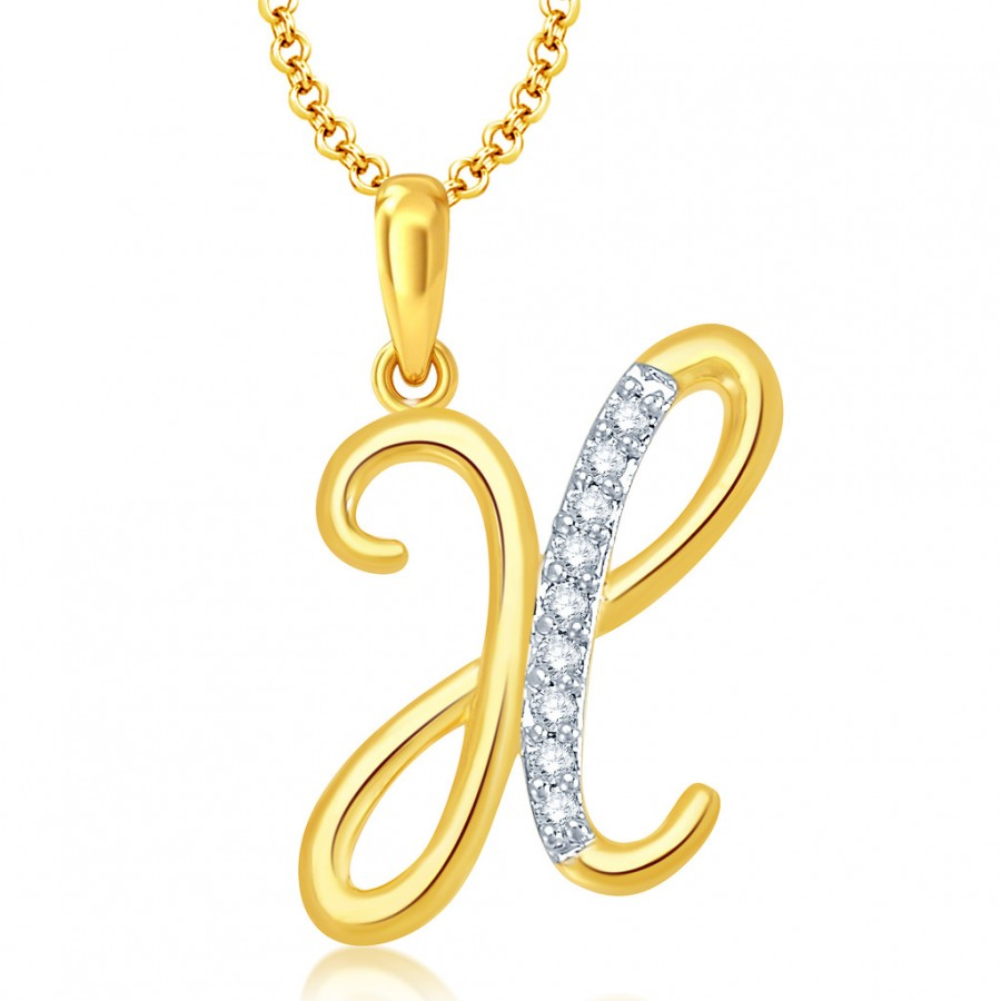"Buy Pissara Letter"" X"" Gold and Rhodium Plated CZ Alphabet Pendant Online"