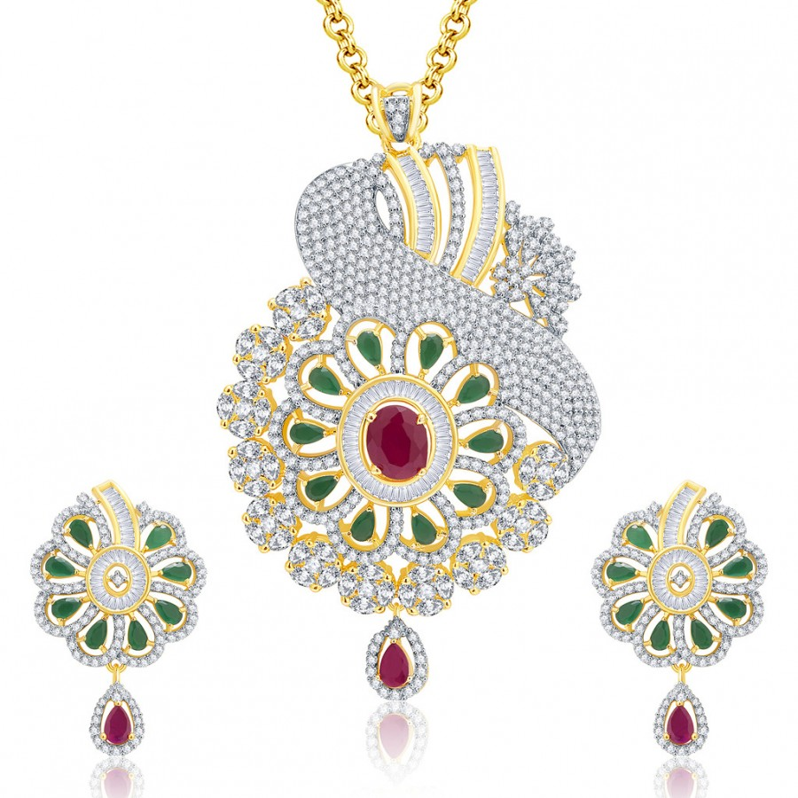 Buy Pissara Remarkable Gold And Rhodium Plated Ruby CZ Pendant Set For Women Online