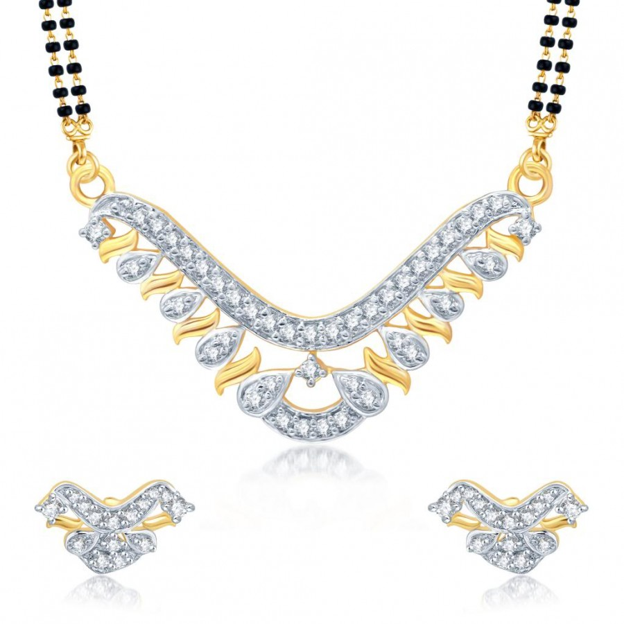 Buy Pissara Sparkling Gold and Rhodium Plated Cubic Zirconia Stone Studded Mangalsutra Set Online