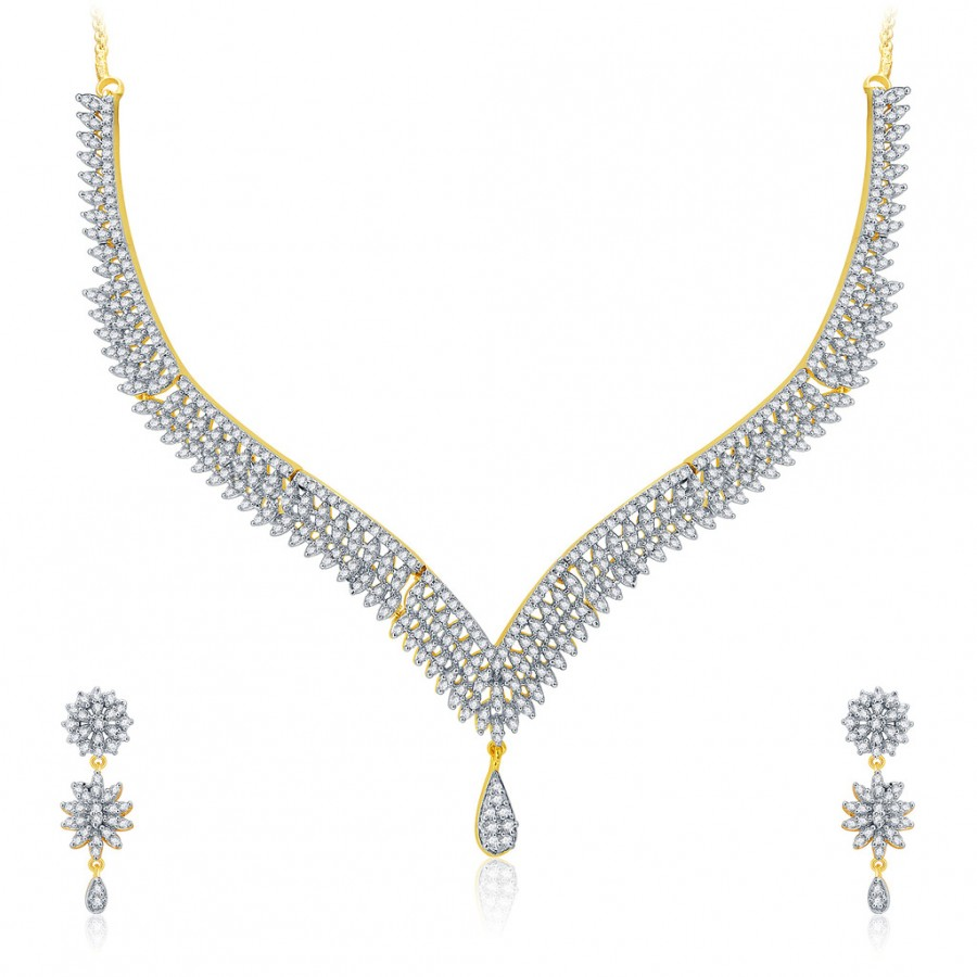Buy Pissara Flattering Gold And Rhodium Plated CZ Neklace Set For Women Online