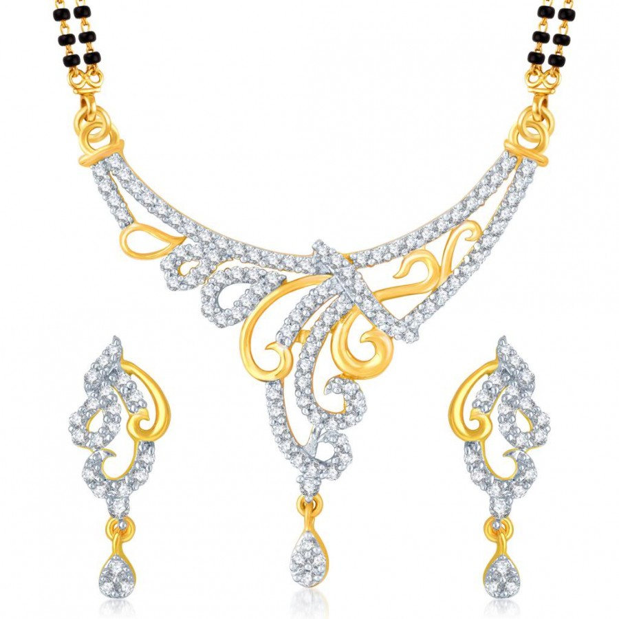 Buy Pissara Bewitching Gold and Rhodium Plated Cubic Zirconia Stone Studded Mangalsutra Set Online