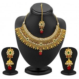 Buy Sukkhi Fine Gold Plated AD, Ruby and Emerald Antique Necklace Set Online