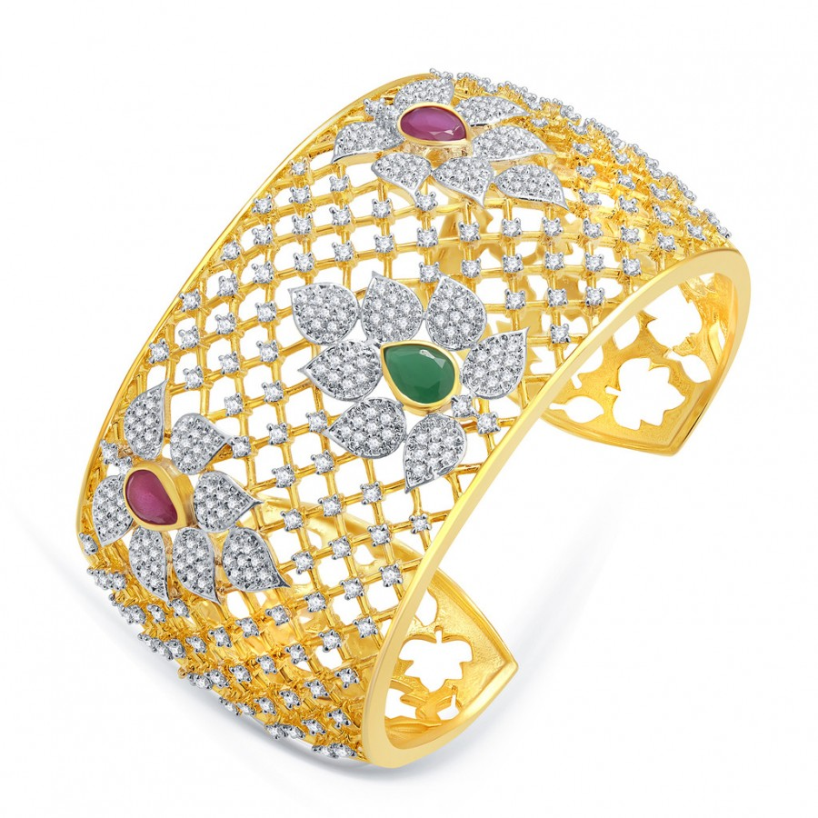 Buy Pissara Eye Candy Gold And Rhodium Plated Ruby CZ Kada For Women Online
