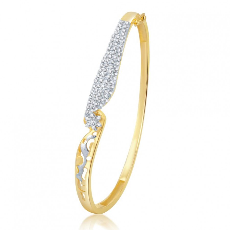 Buy Pissara Glistening Gold and Rhodium Plated Cubic Zirconia Stone Studded Kada Online