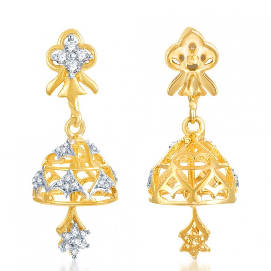 Buy Pissara Marvelous Gold and Rhodium Plated CZ Jhumki Online