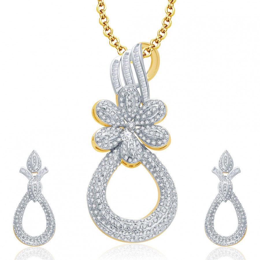 Buy Pissara Feminine Gold And Rhodium Plated CZ Pendant Set For Women Online