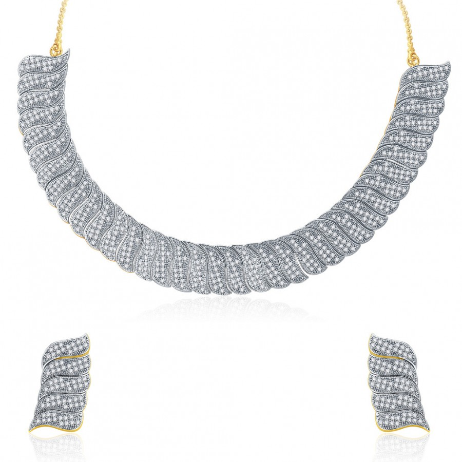 Buy Pissara Burished Gold And Rhodium Plated CZ Neklace Set For Women Online