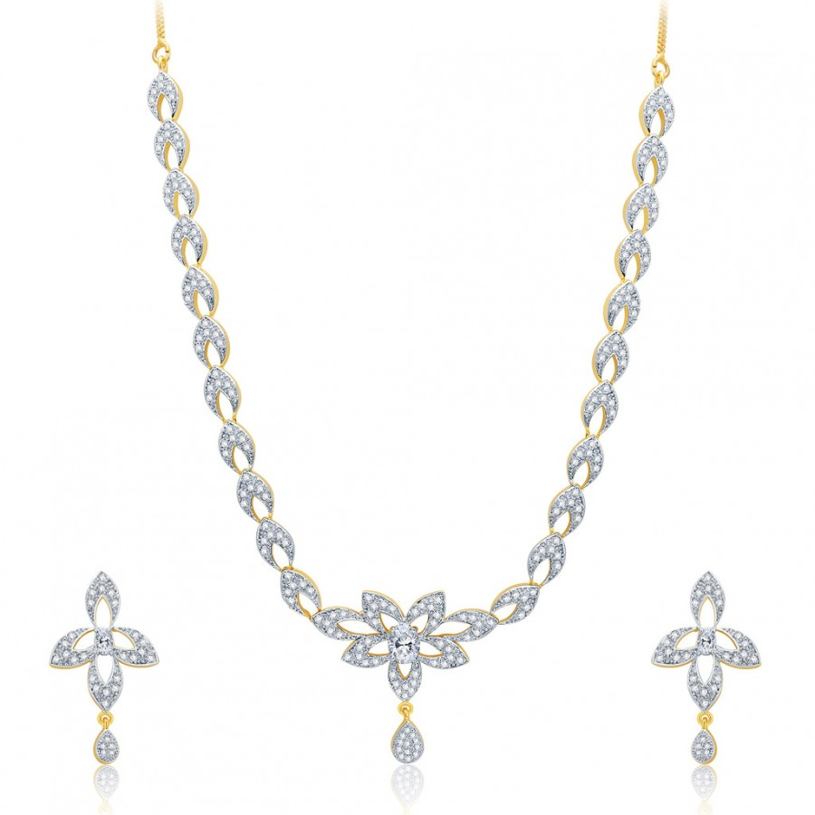 Buy Pissara Pride Gold And Rhodium Plated CZ Neklace Set For Women Online