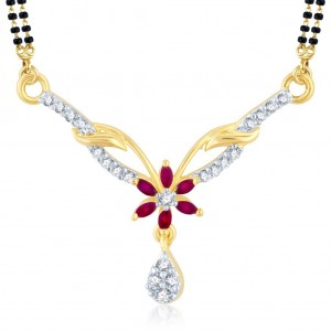 Buy Pissara Glorious Gold and Rhodium Plated Cubic Zirconia and Ruby Stone Studded Mangalsutra Pendant Online