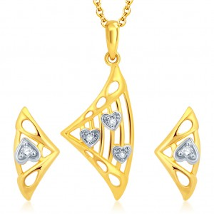 Buy Pissara Fancy Gold and Rhodium Plated CZ Pendant Set Online