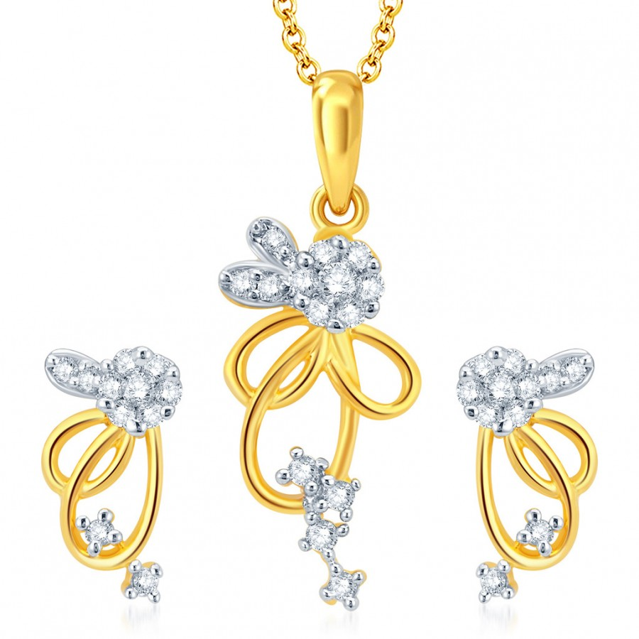 Buy Pissara Pretty Gold and Rhodium Plated CZ Pendant Set Online