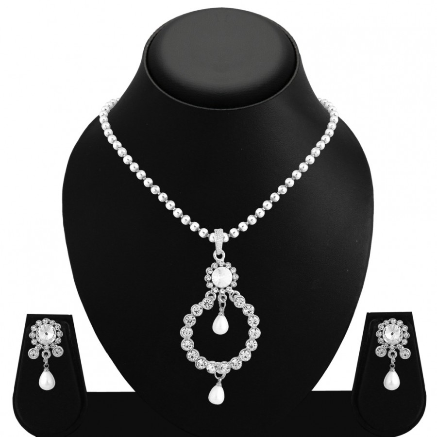 Buy Sukkhi Graceful Rhodium Plated AD Pendant Set For Women Online