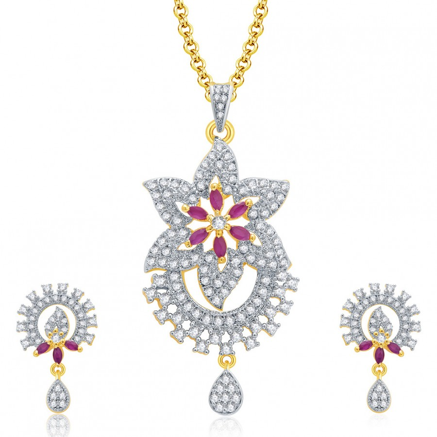Buy Pissara Luxurious Gold And Rhodium Plated Ruby CZ Pendant Set For Women Online