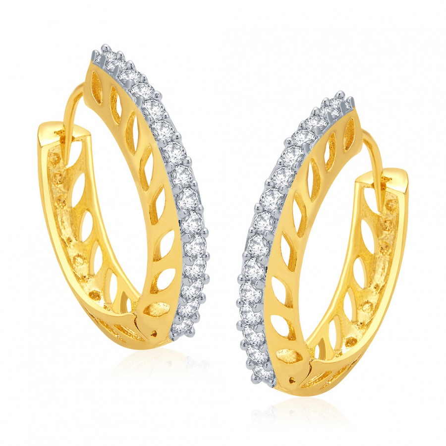 Buy Pissara Glitzy Gold And Rhodium Plated CZ Hoops For Women Online