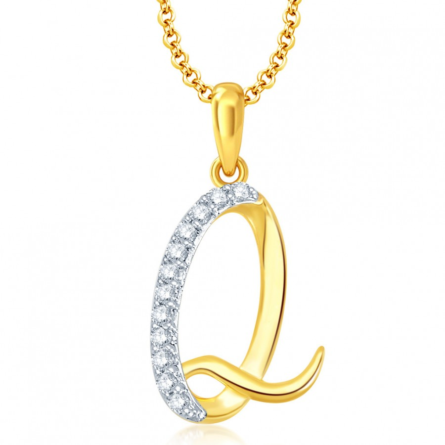 "Buy Pissara Letter"" Q"" Gold and Rhodium Plated CZ Alphabet Pendant Online"