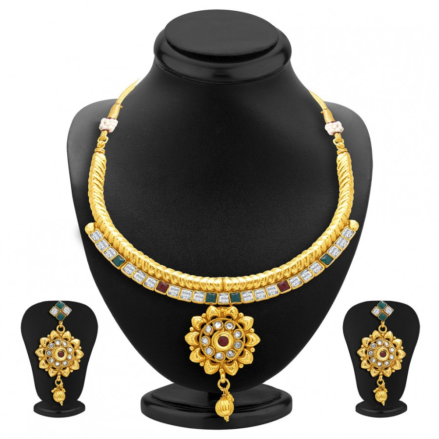 Buy Sukkhi Charming Gold Plated AD Necklace Set For Women Online