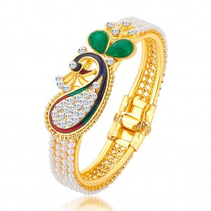 Buy Sukkhi Marquise Pecock Gold Plated AD Kada For Women Online