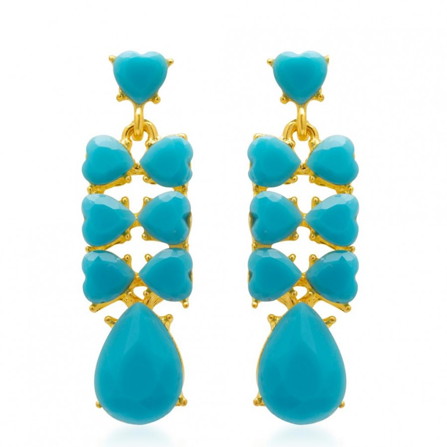 Buy Sukkhi Magnificent Aqua Colour Stone Studded Earrings Online