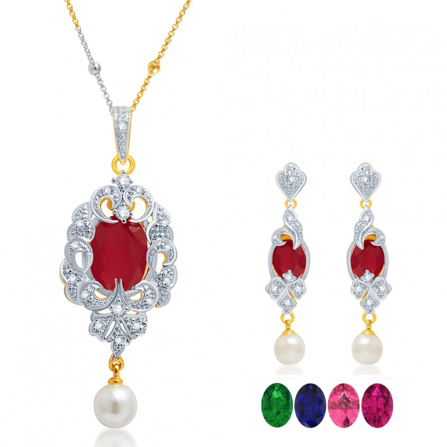 Buy Pissara Fabulous Gold and Rhodium Plated CZ Pendant Set with Set of 5 Changeable Stone Online