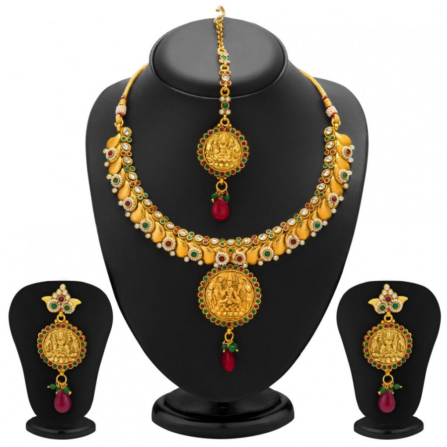 Buy Sukkhi Divine Gold Plated Temple Jewellery Necklace Set for Women Online